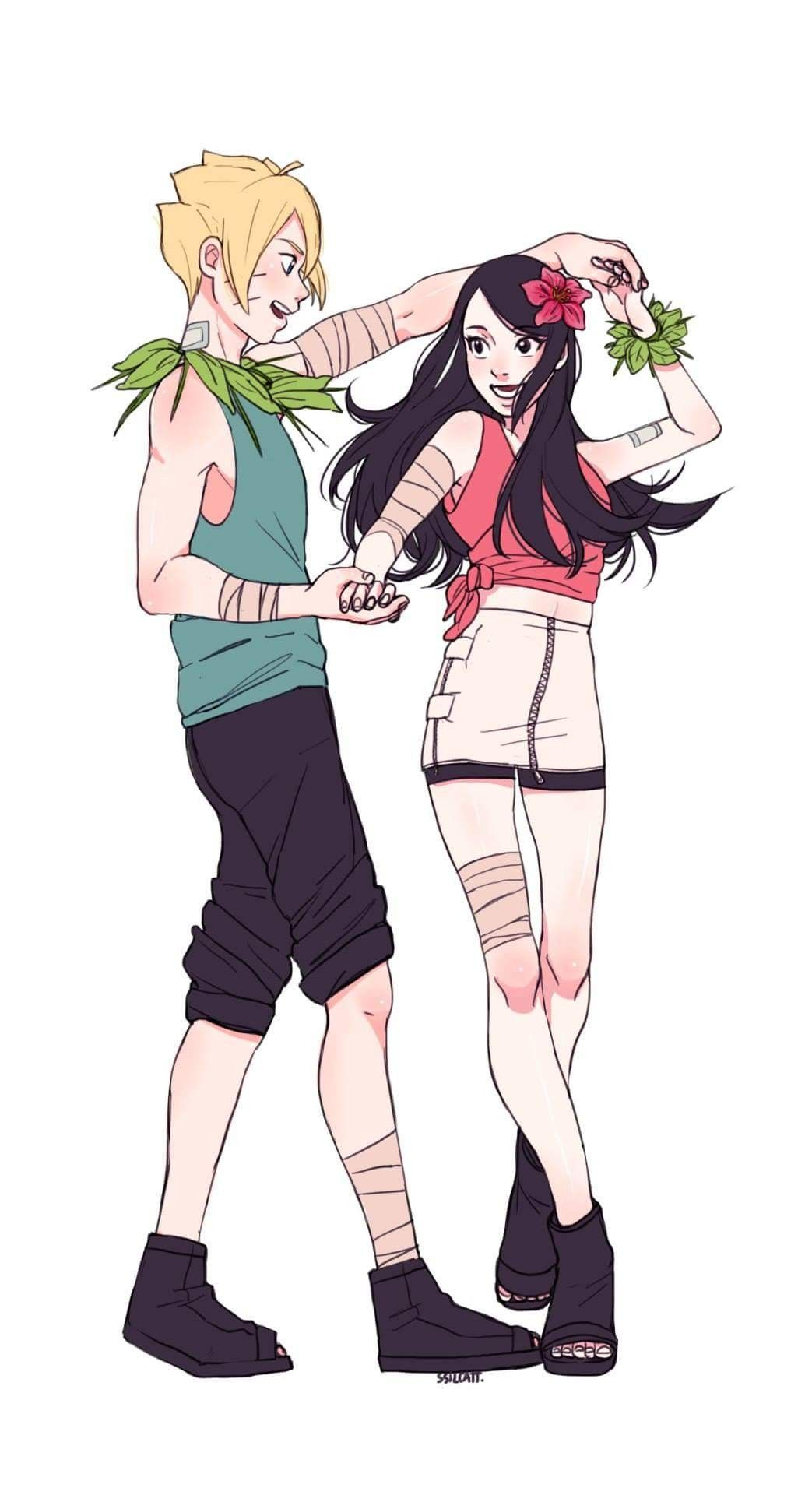 Boruto and Sarada They're so cute together BoruSara ️ ️ ️