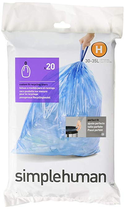 60 Count - Blue 3 Refill Packs simplehuman Code H Custom Fit Recycling Drawstring Trash Bags 30-35 Liter // 8-9 Gallon