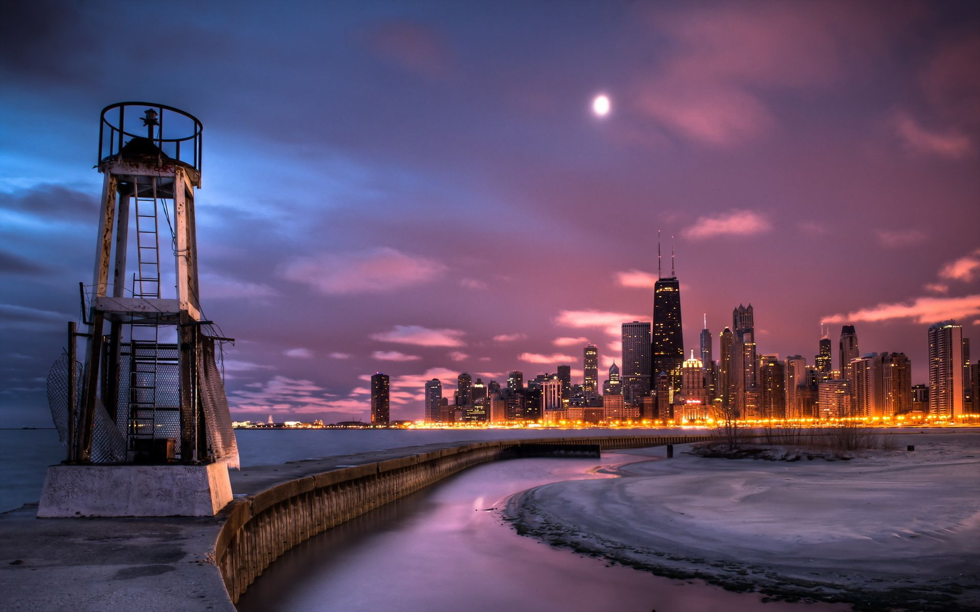 Chicago At Night In Winter Chicago Pictures Chicago City Breathtaking Views