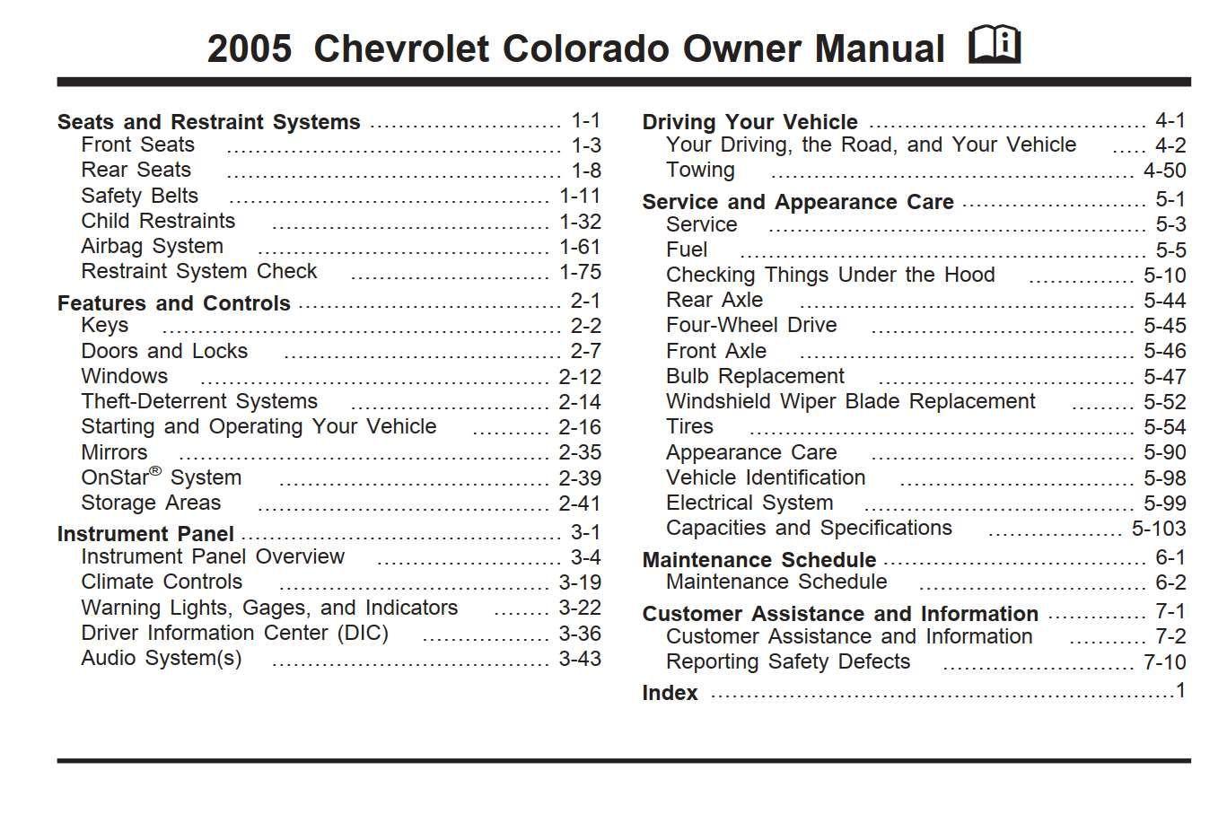 Chevrolet Colorado 2005 Owner S Manual Has Been Published On Procarmanuals Com Https Procarmanuals Chevrolet Colorado Chevrolet Colorado 2005 Owners Manuals