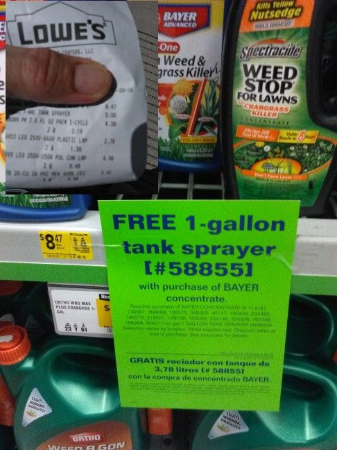 Lowes 1 Gallon Sprayer free when you buy Weed Killer Concentrate ...