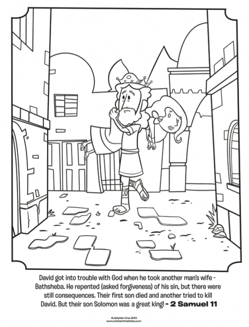 Kids Coloring Page From Whats In The Bible Featuring David And Bathsheba 2 Samuel 11 Volume 5 Israel Gets A King