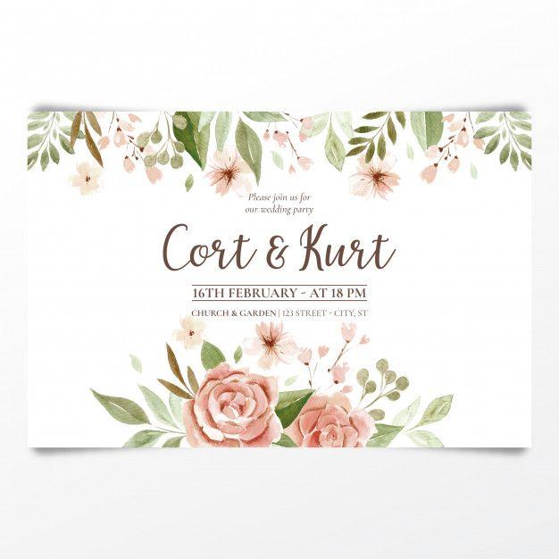 Download Watercolor Wedding Invitation For Free Wedding Invitation Vector Watercolor Wedding Invitations Wedding Cards