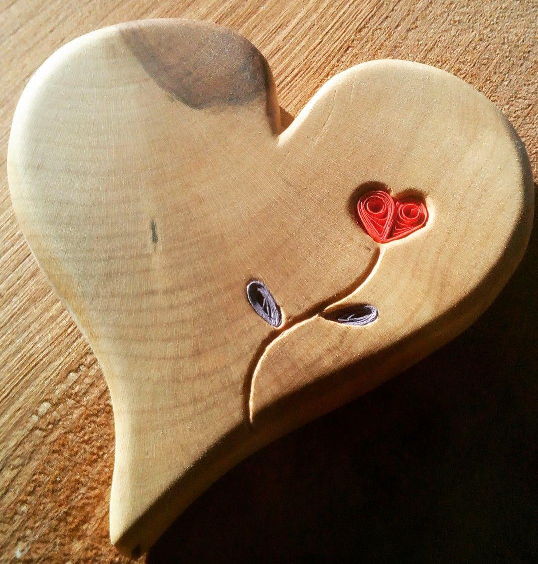 Coeur en bois et Quilling