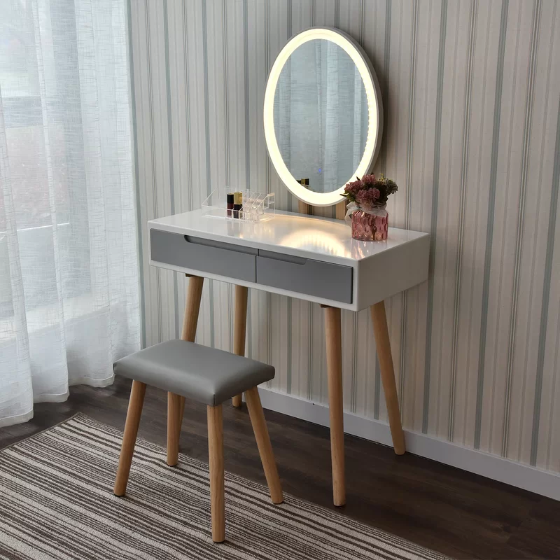 Howey Vanity Set With Stool And Mirror In 2020 Vanity Table Set Vanity Set Vanity Table