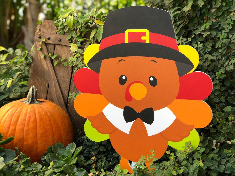 Thanksgiving Turkey Cutout Yard Decoration In 2020 Christmas Yard Art Wood Yard Art Thanksgiving Kids