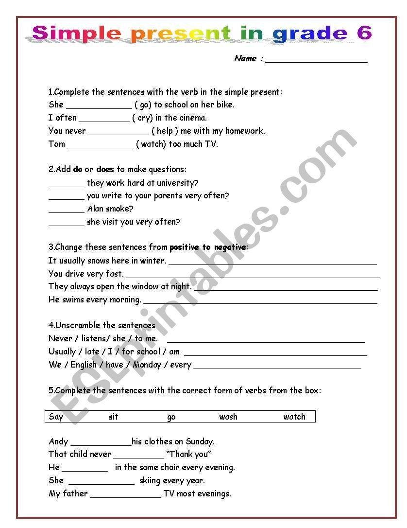 Grammar Worksheets for Grade 6 Simple Present In Grade 6 Esl Worksheet by  Mako5 in 2020   Grammar worksheets [ 1086 x 838 Pixel ]