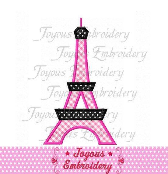 Instant Download Eiffel Tower Applique Machine By Joyousembroidery