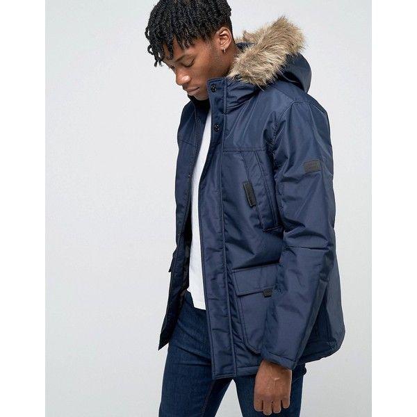 Jack Jones Core Parka With Faux Fur Hood 90 Liked On Polyvore Featuring Men S Fashion Men S Clothing Men S Outerwear Men S Coats Mens Hooded Coat Mens Parka Coats Navy Pea Coat