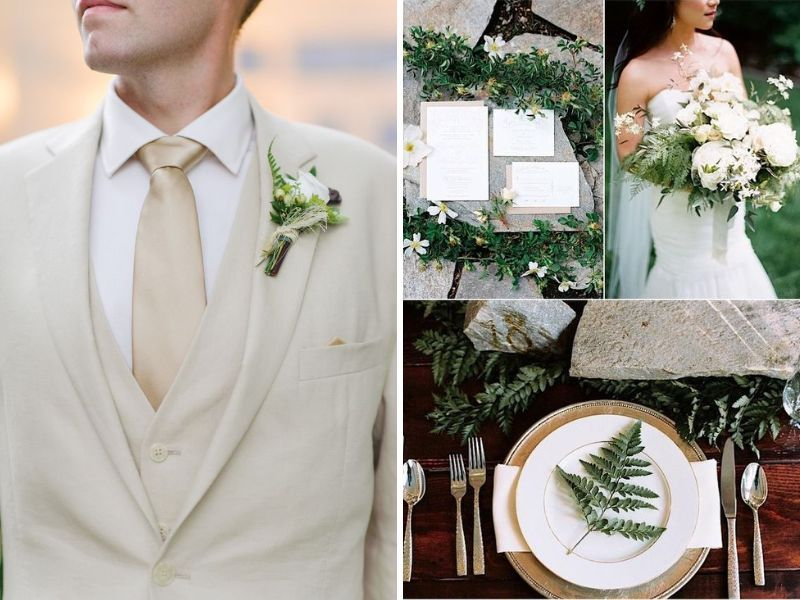 Champagne and Moss Green Wedding - Champagne and Light Blue Wedding and other Great Combos - EverAfterGuide