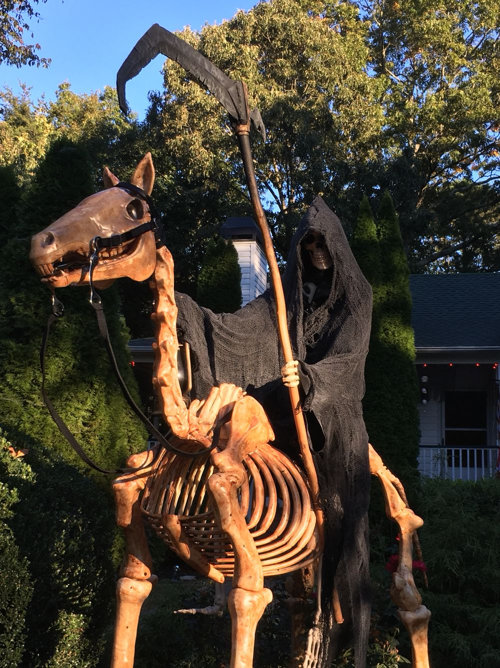 horse skeleton with grim reaper rider | halloween decorations