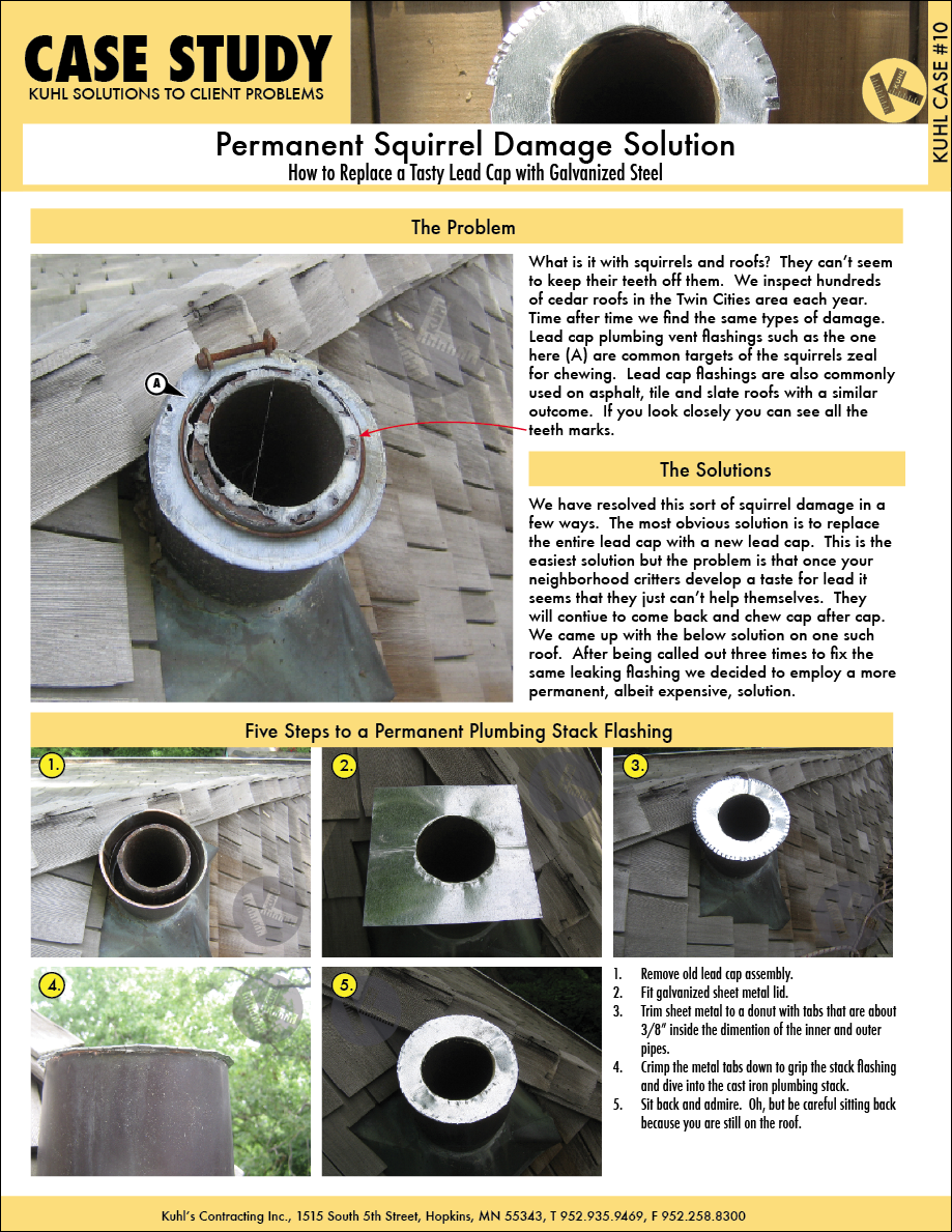 Edina Roofing Contractor Invents Permanent Squirrel Damage Solution Case Study Plumbing Vent Roofing Contractors