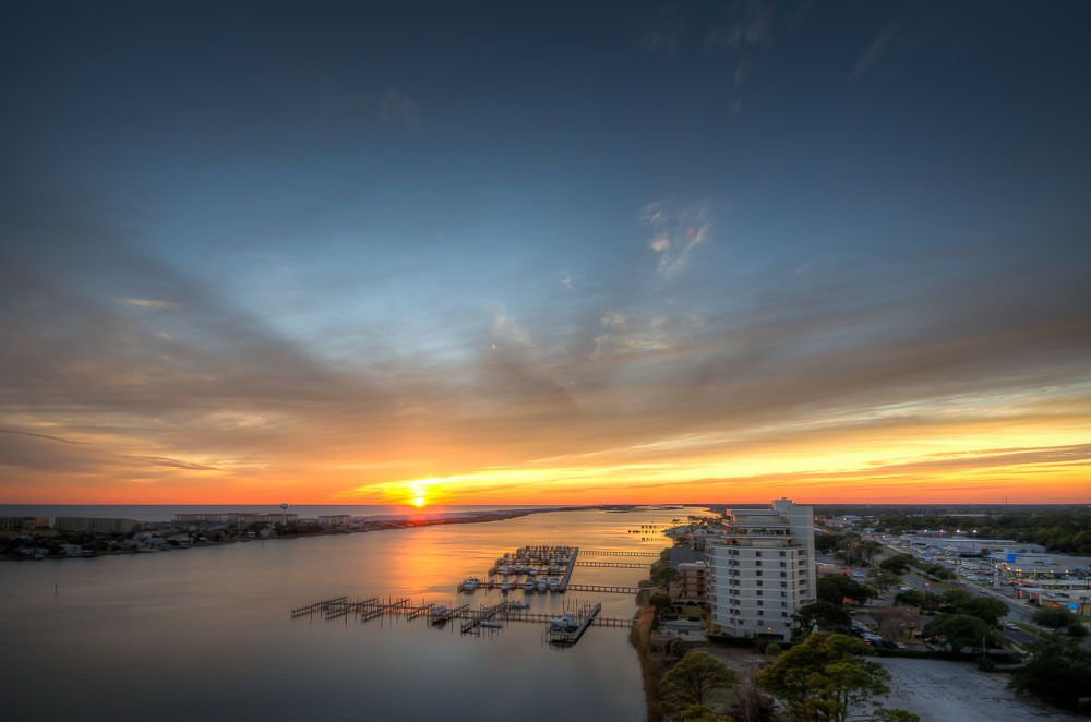 My view from the fourteenth floor on the Intracoastal Waterway looking out to the Gulf of Mexico.