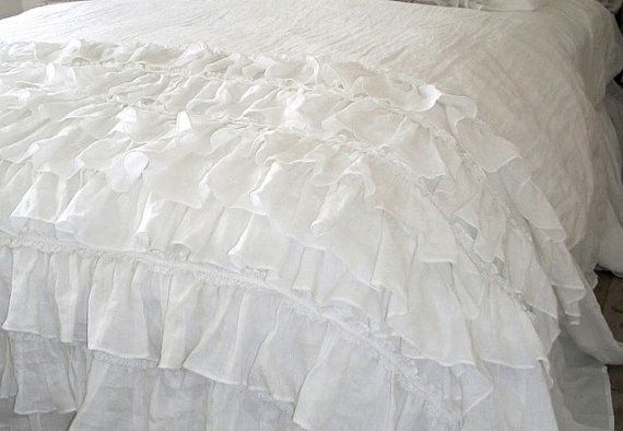 Bottom White Ruffled Duvet Cover Quilt Cover Light