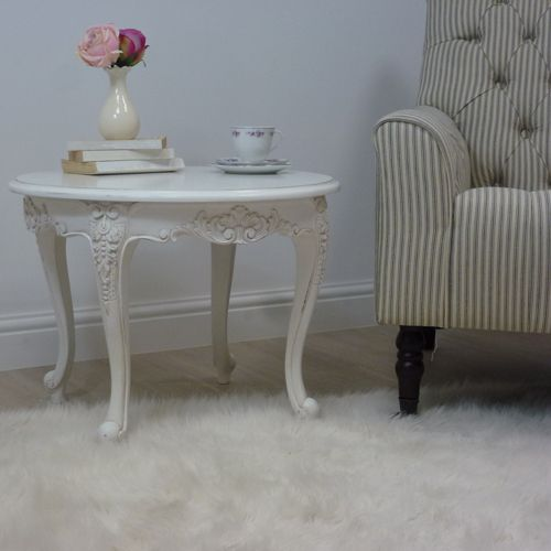 French Style Chateau White Round Side Table Coffee Table