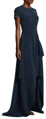 """women's Floor-Length Tiered Asymmetrical Hem Gown,Asymmetrical Hem Gown, Floor-length gown finished with a beaded cuffs Roundneck Short sleeves Concealed back zip Asymmetrical hem Lined About 62"""" from shoulder to hem Polyester/spandex"""