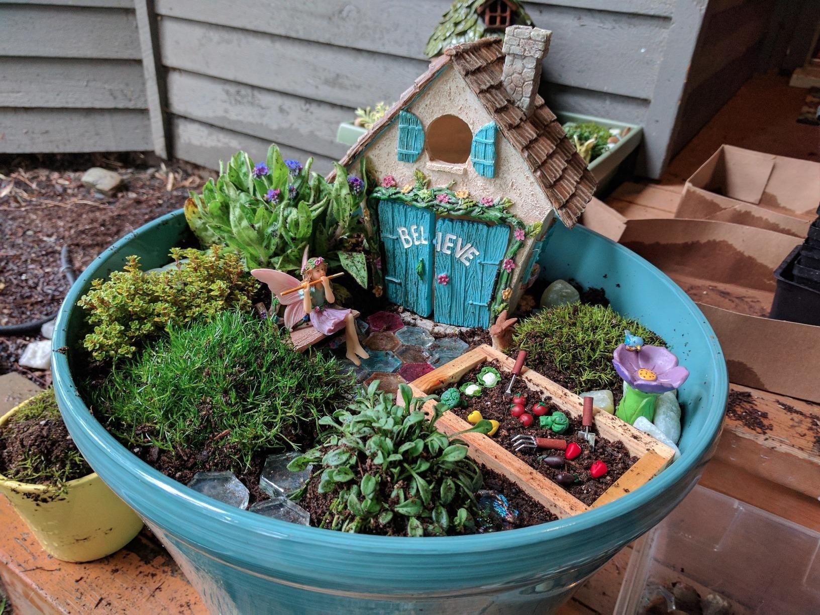 Joykick Fairy Garden House Kit Hand Painted with Opening Doors