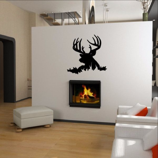 Deer Head Style K Vinyl Wall Decal Nature Wall Decal - Custom die cut vinyl wall decals