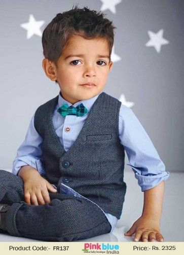 288b68552 3 Piece Boys Suit for Party & Weddings, Kids Formal Occasion Dress with Sky  Blue Shirt with attached Bowtie and Waist Coat and Pants