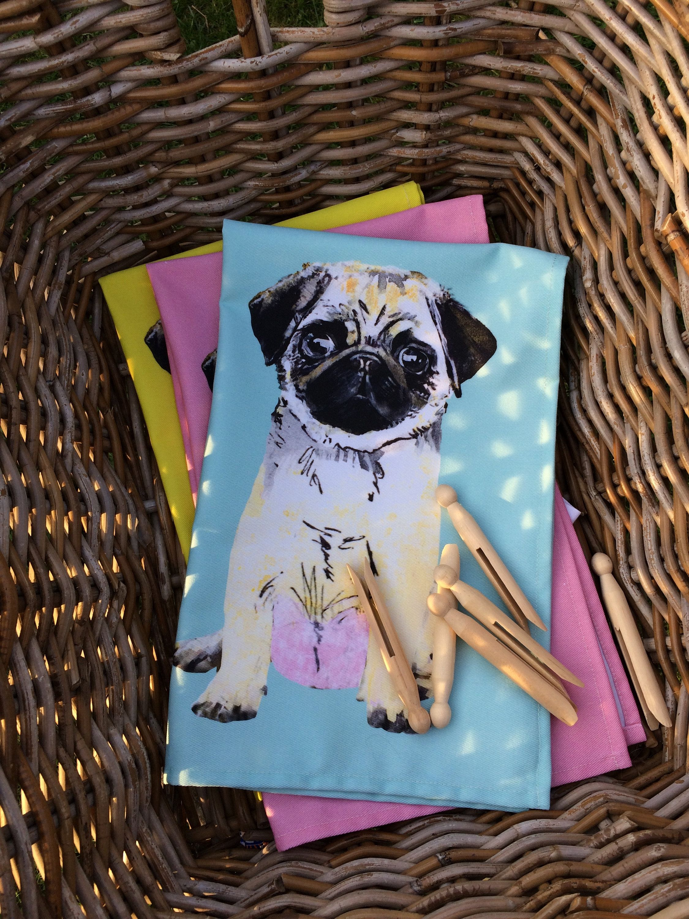 Cute Pug Pugs Tea Towels Quirky Funky Dog Kitchen Decor Black