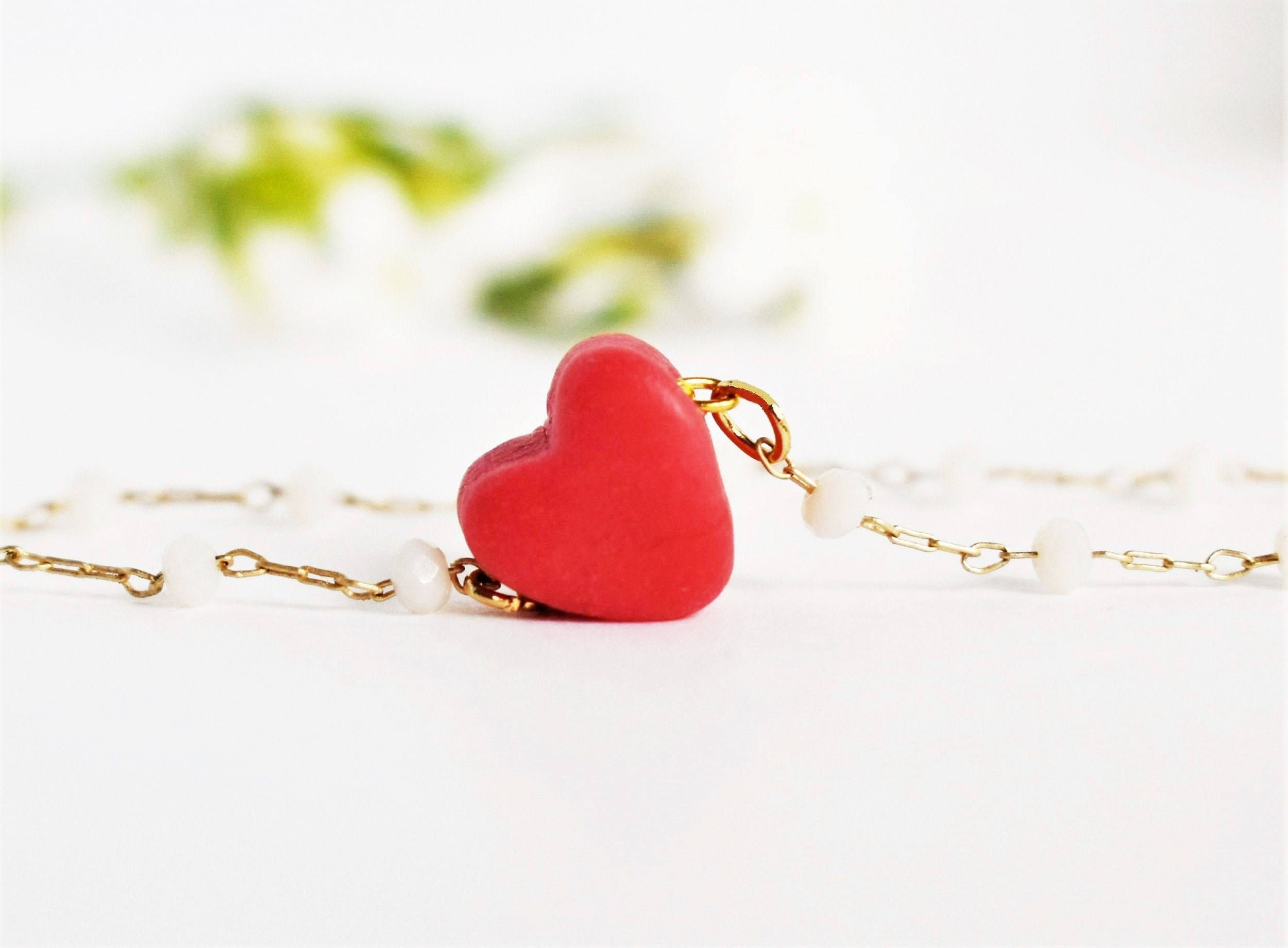 gift jewelry charm tiny necklace red pin childrens children heart for girl pendant dainty valentines