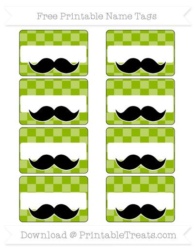 Apple Green Checker Pattern Mustache Name Tags   Name tags ...
