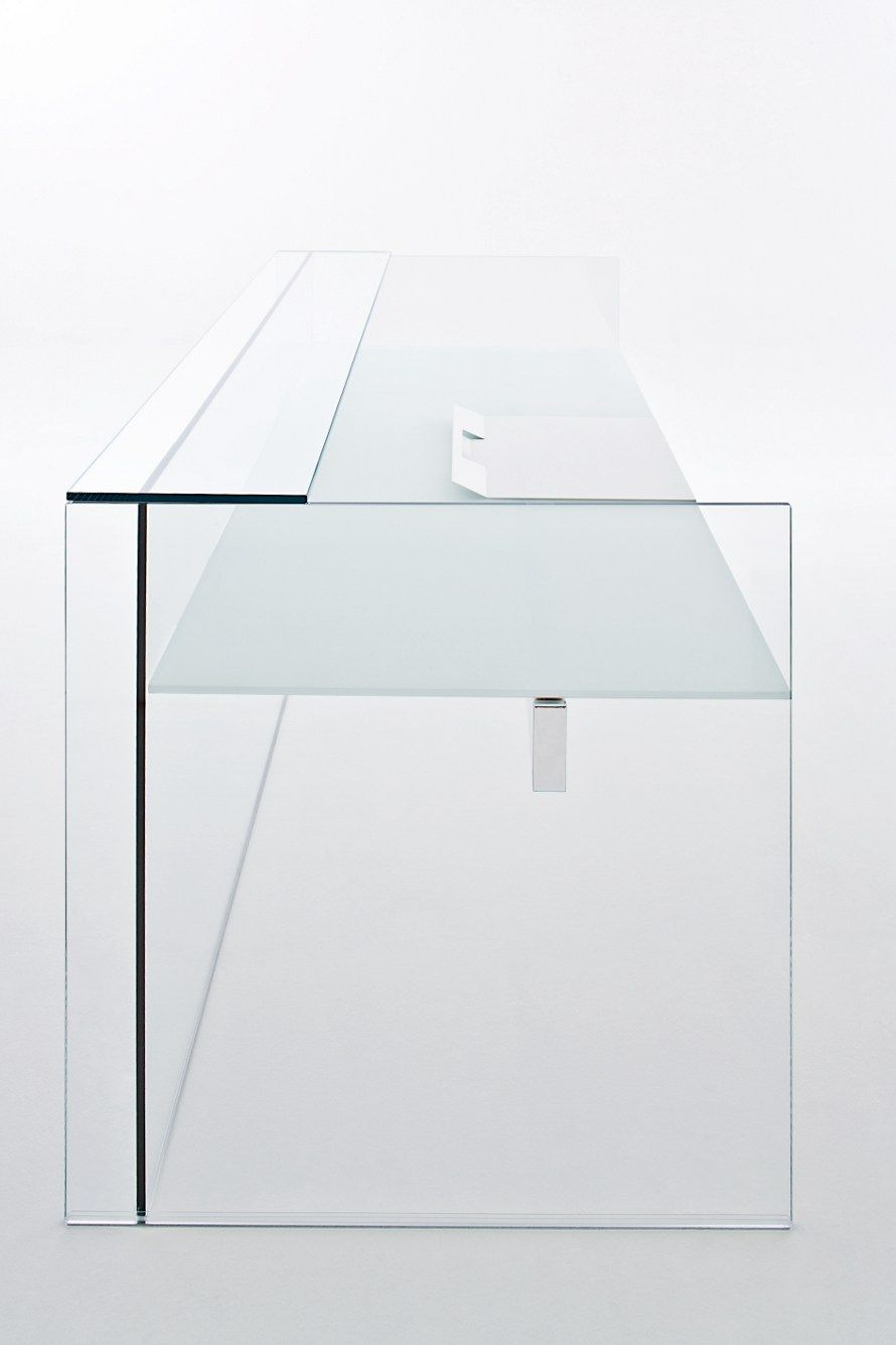 Air Desk by Gallotti & Radice _ if paint gets on glass, it's easier to get off than wood!