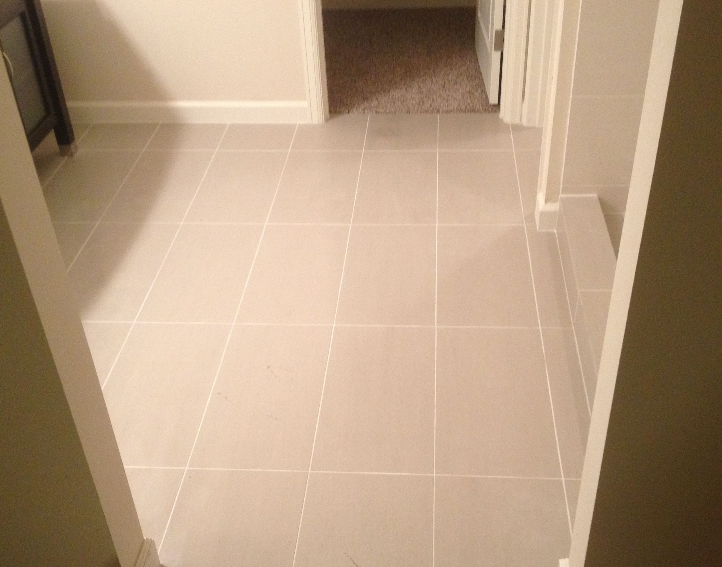 Gray Concrete Look Floor Tile | Offset Installation | Transitional ...