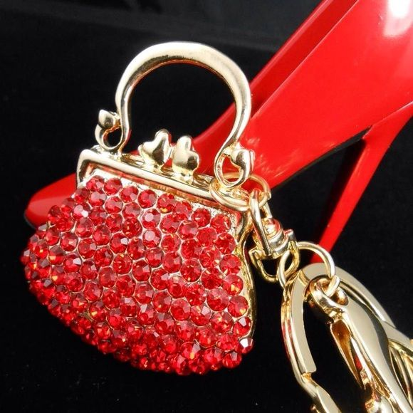 Key Gift Red Cluster Keychain Red Key Accessory Flower Keychain Red Flower Keychain Red Keychain Red Purse Charm Red Bag Charm