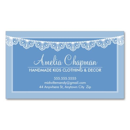 CALLING CARD Cute Creative Pretty Lace Bunting Wedgewood Blue Business Card Templates YOU Can Change The Main Background Color YOURSELF To Anything You