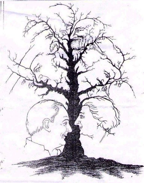 Image result for Pinterest. Image of a tree bRANCHES showing several faces?