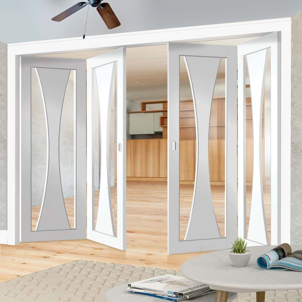 Bespoke thrufold verona white primed glazed folding door door