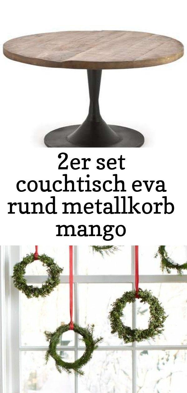 2er set couchtisch eva rund metallkorb mango beistelltisch sofatisch 2 #fensterdekoweihnachten