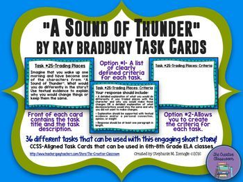 A Sound Of Thunder By Ray Bradbury Task Cards With Editable