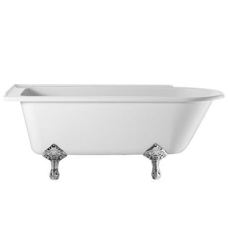 Burlington - Hampton 1500mm Showering Bath with Chrome Traditional Legs - Left Hand Option