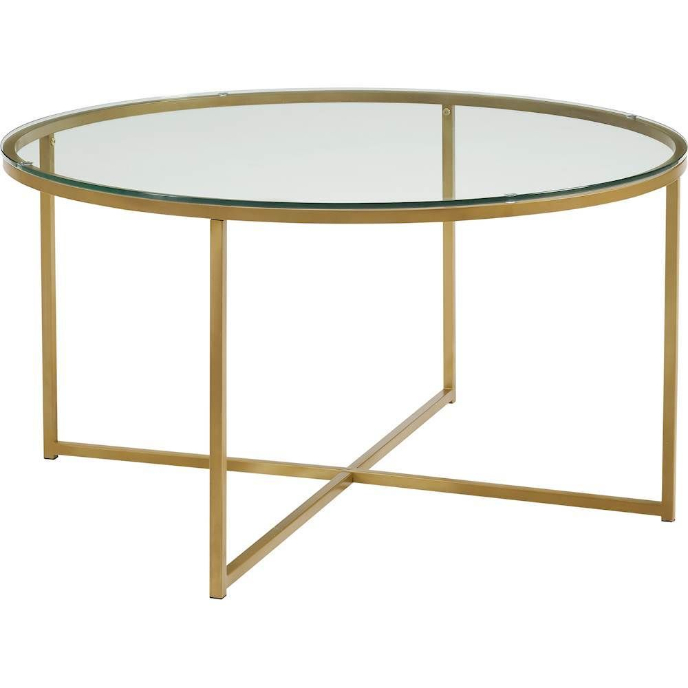 Walker Edison 36 Round Alissa Coffee Table Glass Gold Coffee Table Glass Coffee Table Coffee Table With Storage