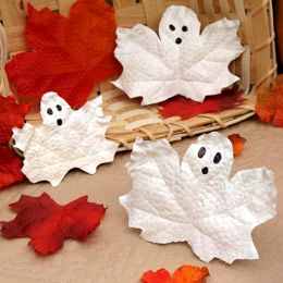 Painted leaf ghosts. These would make cute place cards for the Halloween (Fall) party at school.....or let them hang from the ceiling in a cluster over the tables.