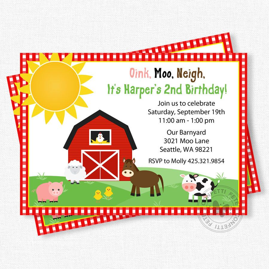 Farm Birthday Invitation, Barnyard Birthday Invitation, Farm Animals ...