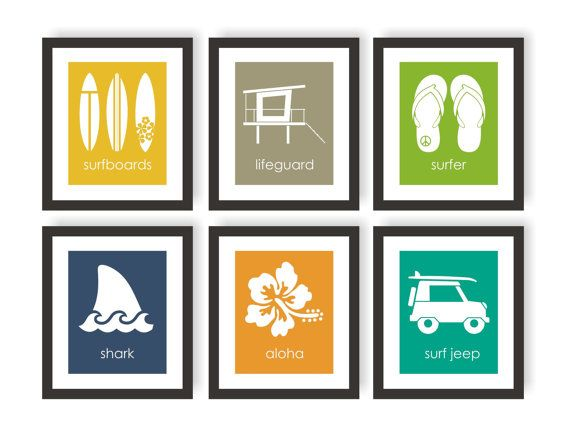 Surfer Art Choose Colors Surf Wall Decor Surfboards