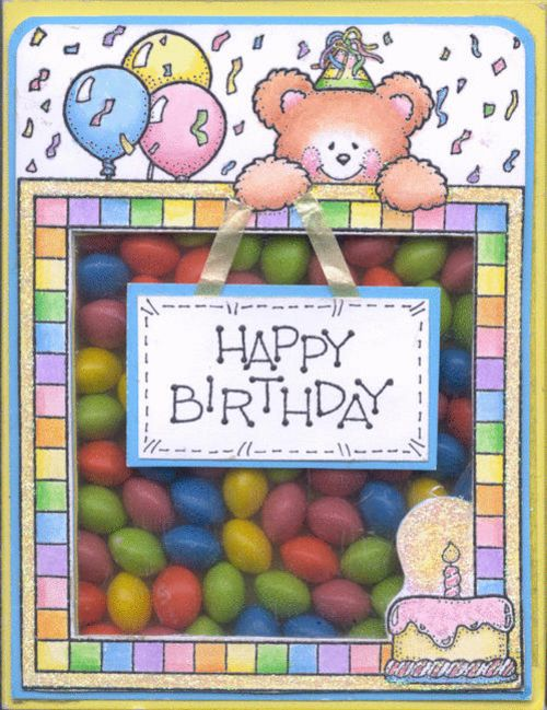 darcie's lg square happy birthday treat box filled with