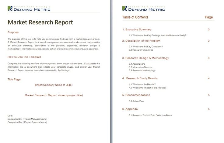 Market Research Report Formal Template That Will Help You Project