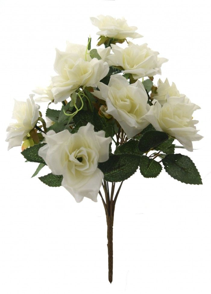 Fourwalls Magnificent Artificial Synthetic Rose Bunch White 40 Cm Tall Artificial Flowers Flowers Online Flower Decorations