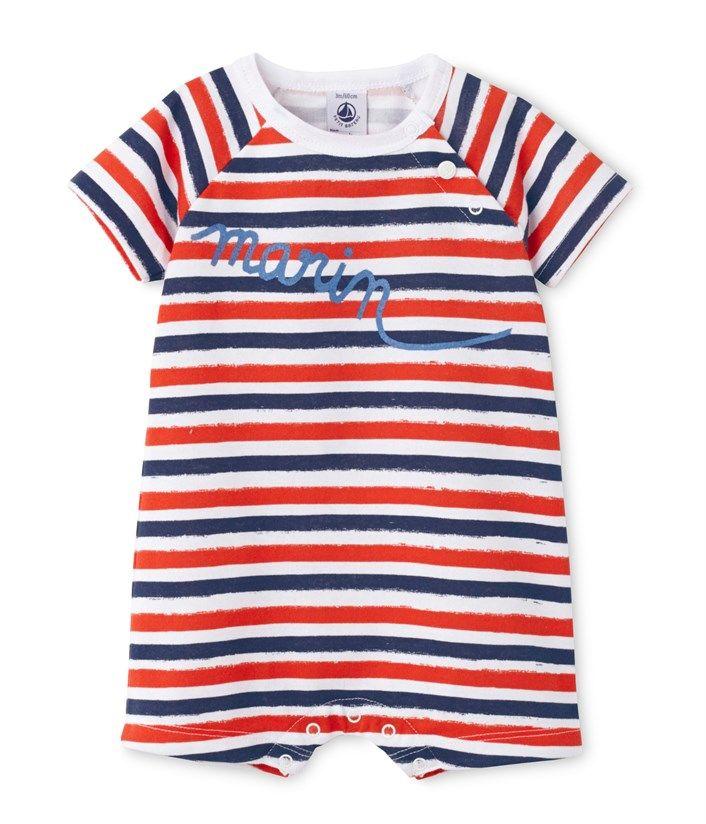 060add549e109 Combicourt bébé garçon à rayure irrégulière blanc Ecume   bleu Valentin. Retrouvez  notre gamme de vêtements et sous-vêtements pour bébé