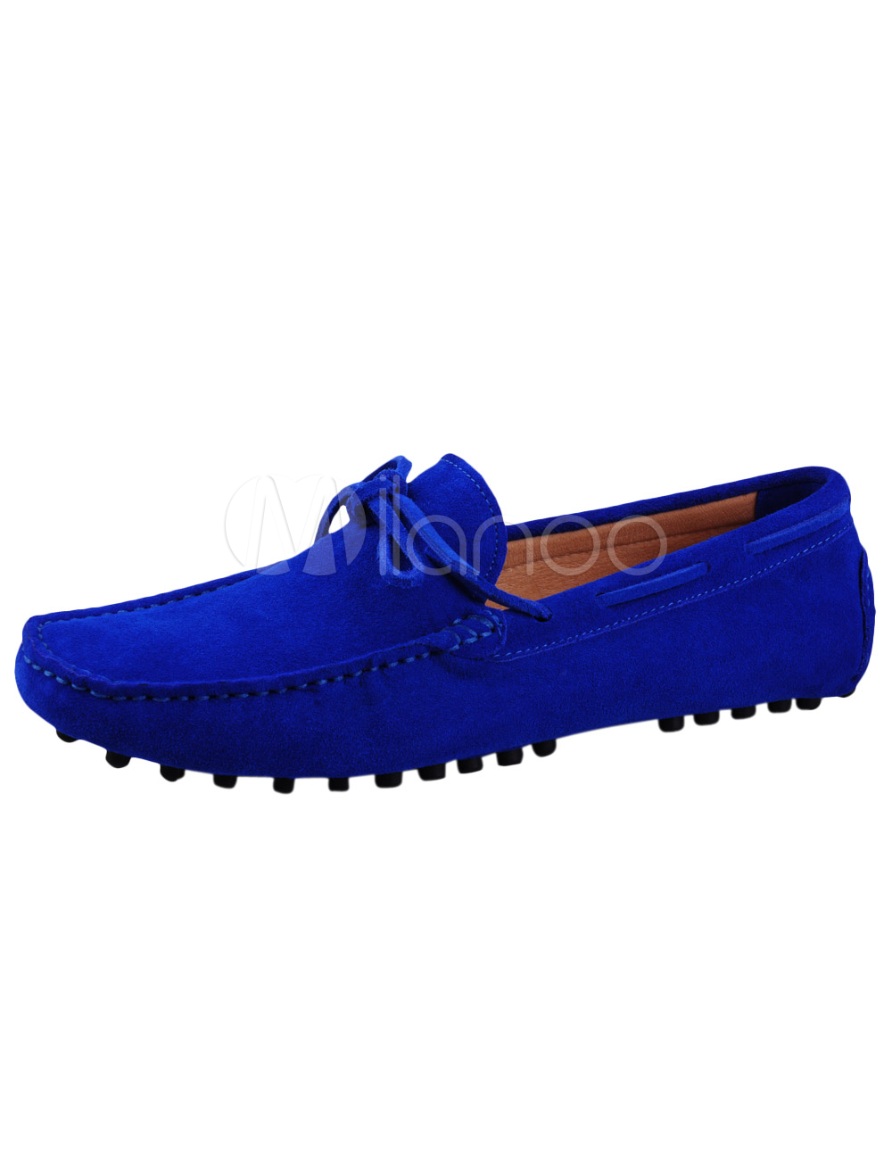 46f5d8278fd Royal Blue Loafers 2018 Men Shoes Cowhide Round Toe Bow Slip On Driving  Shoes