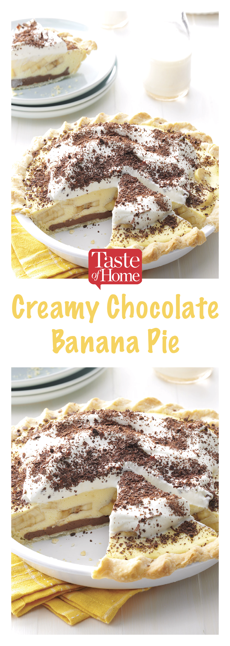 Creamy Chocolate-Banana Pie #bananapie