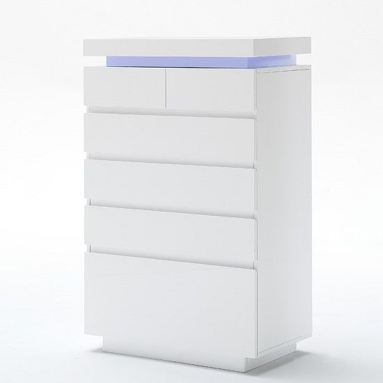 Odessa Sideboard Chest Of Drawers In High Gloss White With LED