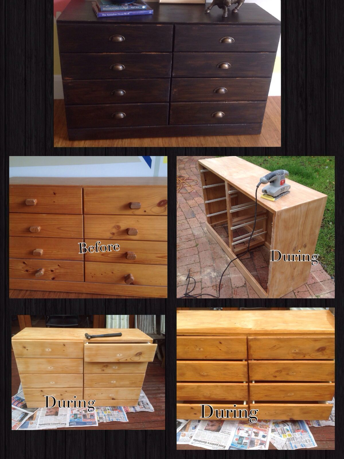 Industrial Shabby Chic Chest Of Drawers, Upcycled Furniture Before And