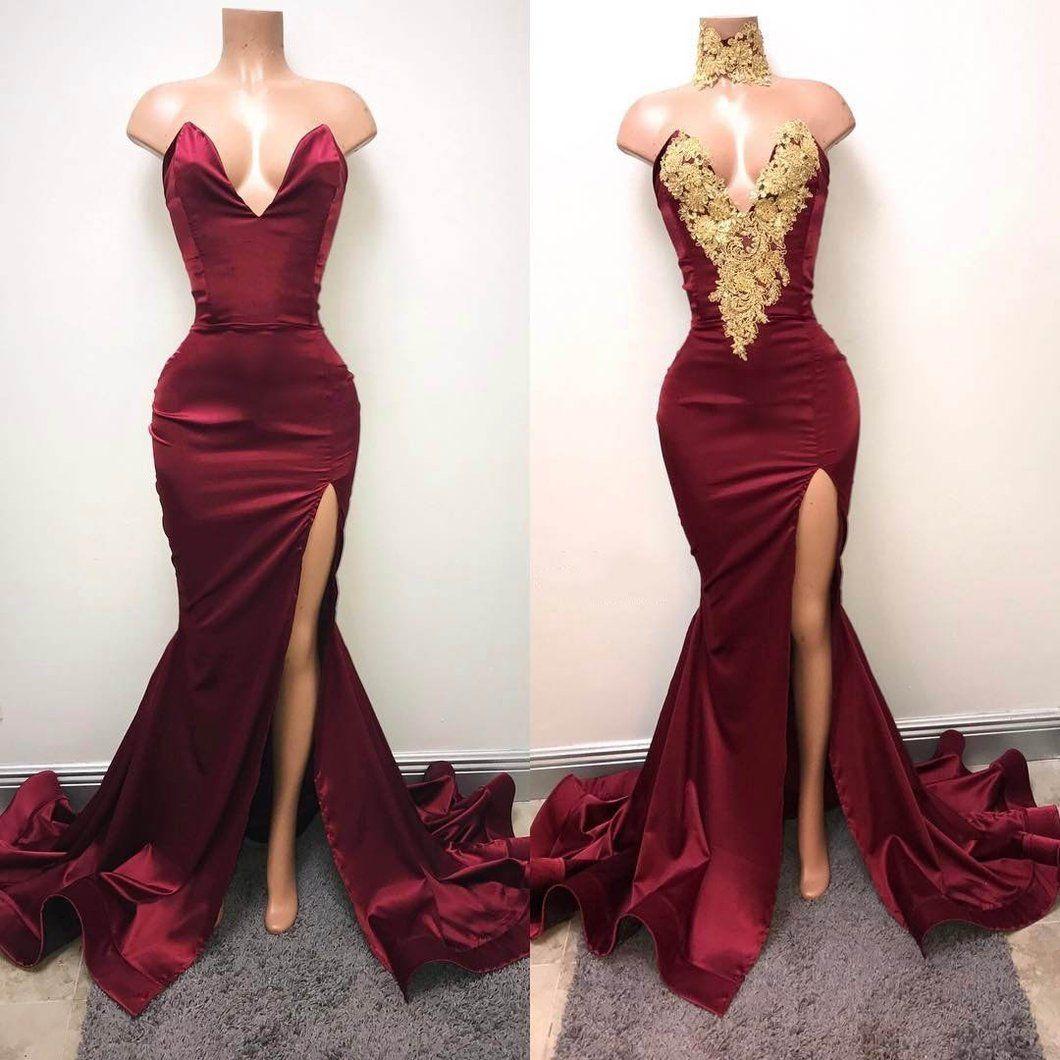 mermaid prom dress modest burgundy lace long prom dress vb