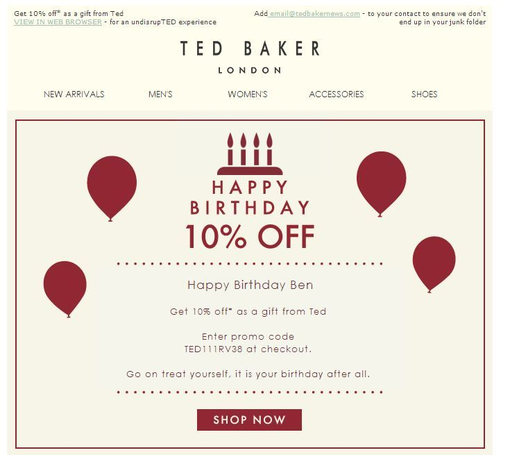 Ted Baker  Birthday Email  Subject Line Happy Birthday X
