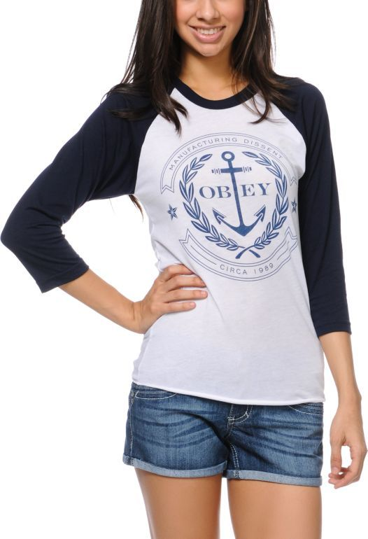 Obey Girls Cruise Liner Navy Baseball Tee Shirt